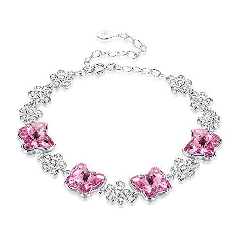 LNLJ - Pulsera de mariposa, regalo para mujeres, adolescentes, niñas, plata de ley 925 con circonita de cristal, cadena de mano ajustable, rosa, L