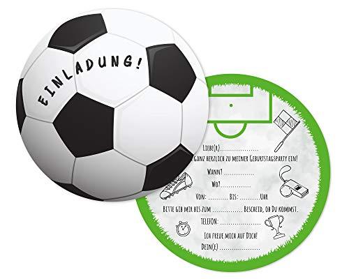 Friendly Fox Fußball Einladung rund - 12 Einladungskarten Fussball zum Kindergeburtstag Junge Mädchen- Geburtstagseinladungen - ideal für kleine Fußball-Fans