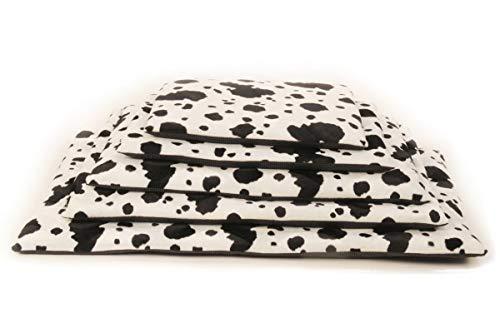 Comfort-Kussen 3BM4-BF-KOE Komfort Haustier-Bett & Kistenmatte Lagerfeuer Kuh, 90x60x3 cm, schwarz/weiß