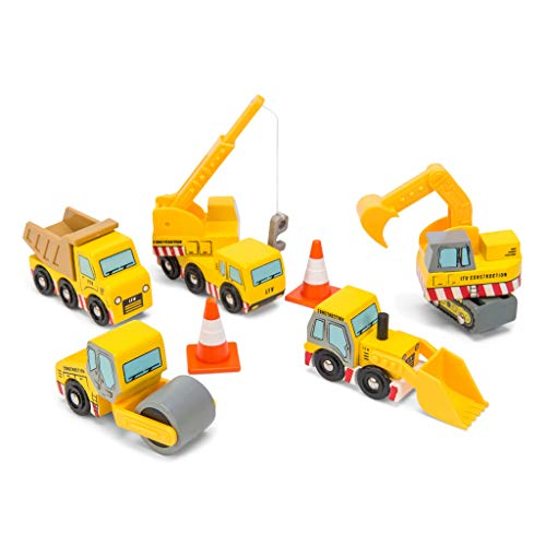 Le Toy Van - Cars & Construction Wooden Construction Vehicles Pretend Play Play Set With Lifting Crane, Scoop, Roller, Digger, Tip-up Truck and Cones Builder Toy | Pretend Play Toy Suitable For Age 3+