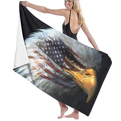 Double Cheese Bandera Estadounidense Águila Calva Toalla de Playa Toallas de Piscina de Gran tamaño Altamente absorbentes Toalla de baño Suave Manta Toalla de Gimnasio de Secado rápido 130x80cm-X21
