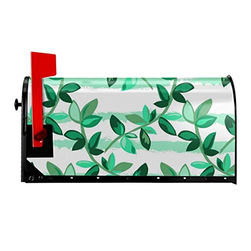Odeletqweenry Cute Growing Leaves Print Mailbox Cover Magnetic Mailbox Wraps Post Letter Box Cover Standard Size 21 x 18 Inches Waterproof Canvas Mailbox Cover