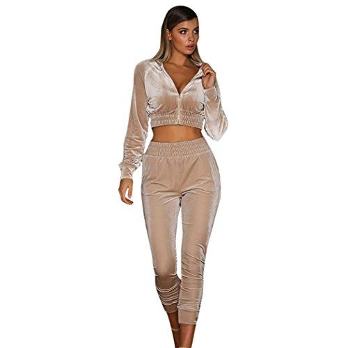 Kolylong® Sportanzug Damen 1 Set Frauen Reizvoller Samt Outfits Sportbekleidung Sweatshirt Mit Kapuze +Hose Lange Yoga Outdoor Anzug Sportswear (XL, Khaki)