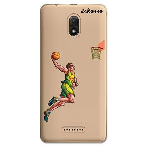 dakanna Funda Compatible con [Wiko Jerry 3] de Silicona Flexible, Dibujo Diseño [Jugador de Baloncesto], Color [Fondo Transparente] Carcasa Case Cover de Gel TPU para Smartphone