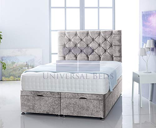 Universal Beds SOFT VELVET OTTOMAN FOOT LIFT STORAGE DIVAN BED BASE WITH 1000 POCKET MEMORY MATTRESS | FREE 26' HEADBOARD!!!! (4.0FT - Small Double, Soft Velvet Silver)