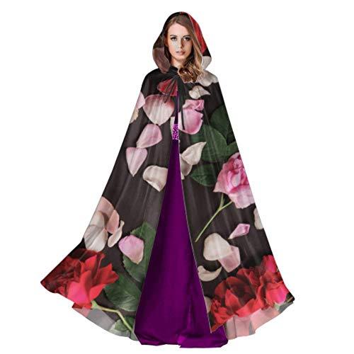 WYYWCY Dunkelroter romantischer wohlriechender Blumen-Frauen-Mantel mit Hauben-Mädchen-Mantel-Umhang 59inch für Weihnachten Halloween Cosplay Kostüme
