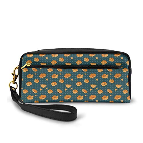Pencil Case Pen Bag Pouch Stationary,Floral Pattern with Cute Petals and Buds on Polka Dots,Small Makeup Bag Coin Purse