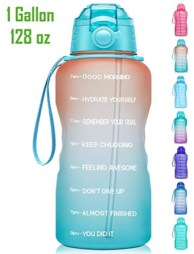Fidus Large Half Gallon//64Oz Motivational Water Bottle With Time Marker  Straw,