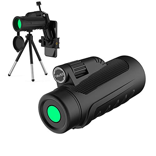 16x50 HD Monocular Telescope Compact, Monoculars for Adults with Upgrade Quick Phone Mount and Tripod for Phone X 8 7 6 Plus Monocular Scope Optics Fmc Bak4 Prisms Waterproof Fogproof for Outdoor