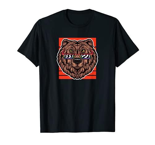 Oso marrón droller, diseño de oso con gafas de sol del arco Camiseta