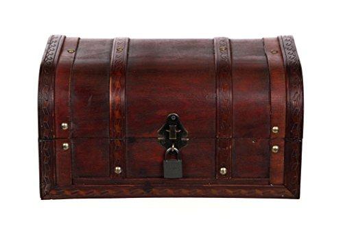Cofre HD 86002 - con Cerradura con Cerradura y 2 Llaves, Armario de Madera, Cofre del Tesoro, Caja, Caja Pirata, Cofre Decorativo, Cofre Colonial, Caja de Madera, 30 x 20 x 15 cm
