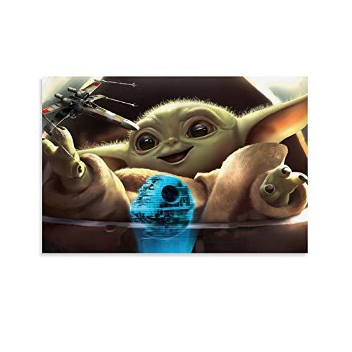 DRAGON VINES Star Wars Baby-Yoda-Spielzeug, Raumschiff, holografische Projektion, der Mandalorianische Leinwand-Bilderrahmen, HD-Dekorationen für Zuhause, Wohnzimmer, Esszimmer, 30 x 45 cm