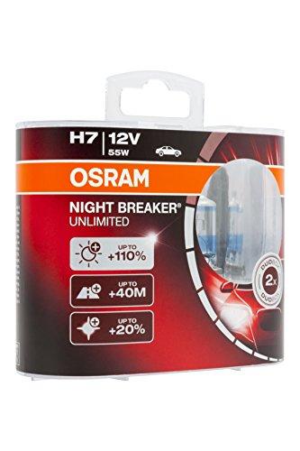 Osram NIGHT BREAKER UNLIMITED H7, Halogen-Scheinwerferlampe, 64210NBU-HCB, 12V PKW, Duobox (2 Stück)