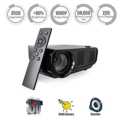 """Nuprojector Video Projector Portable Full HD HDMI VGA LED Supports 1080p, Native 720p 45-200"""" Projection Size w. Speaker, 3800 Lumens (2019 Version) by NuVending"""