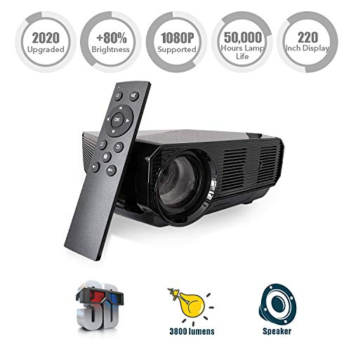 """Nuprojector Bright Home Theater Projector Portable - Full HD HDMI VGA LED Supports 1080p, 35-100"""" Projection Size w. Speaker, (2020 Version) (Rifle)"""