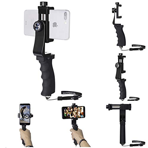 Ergonomic Smartphone Vlogging Hand Grip Stabilizer Mobile Cell Phone Video Recording Holder Rig Handle Travel Selfie Stick Clamp Mount for 60mm-100mm Width iPhone Samsung (Landscape+Portrait Mode)