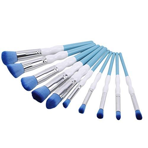 MOONRING 10 PCS Maquillage Brush Set Gourd-Shaped Handle Blush Foundation Brushes Brushes, Blue and white
