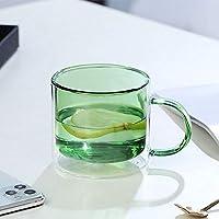 マグボトルコーヒーミルクカップクリエイティブヘルシービバレッジグラス透明ドリンクティーマグ-バターグリーン_中国