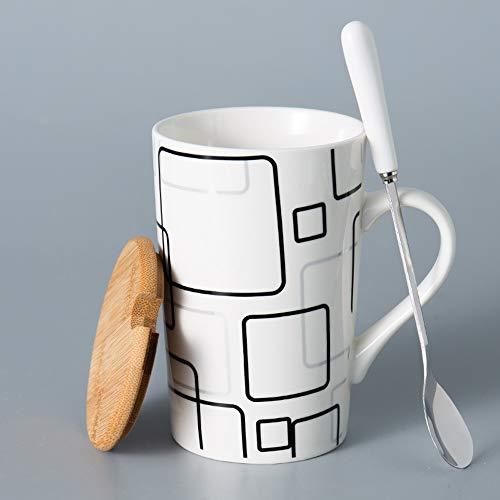 Rghfn Creativa taza de cerámica, taza de agua simple, hogar taza de gran capacidad con tapa y cuchara, personalizada de moda de la taza de café y té Tumblerful, Apto for Cappuccino, Latte, sopa, cerea