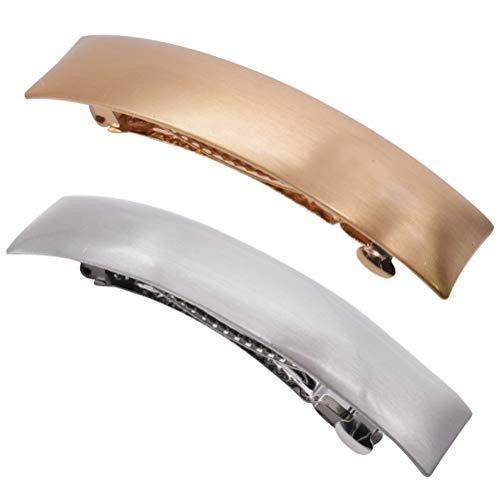 Große Haarspangen -YUESEN 2 Pcs Metalllegierung Haarnadeln Einfache Französische Haarspangen für Damen und Mädchen,Exquisite Haarspangen für Damen(Gold Silber)