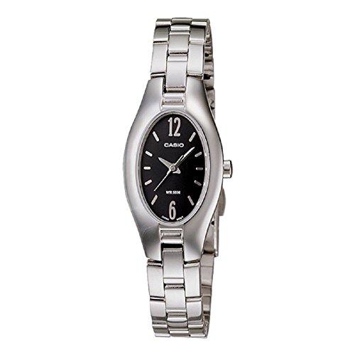 Casio LTP-1290D-1AV Reloj elegante de plata para mujer - esfera negra de acero inoxidable