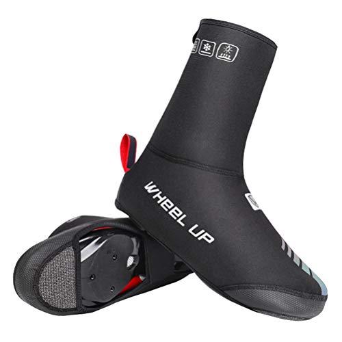 Cubrezapatos de ciclismo impermeables y resistentes al viento con forro polar, cálidos para zapatos de bicicleta, accesorios de invierno, gruesos para exteriores, color negro, A, L