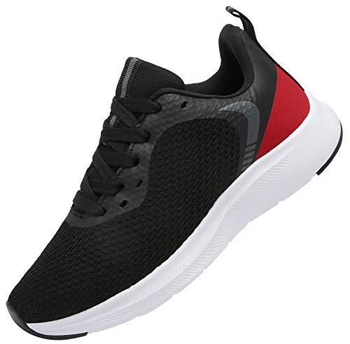 DAFENP Laufschuhe Atmungsaktiv Turnschuhe Leichte Schnürer Sportschuhe Hallenschuhe Gym Fitness Sneaker für Herren Damen XZ721-BlackRed-EU42