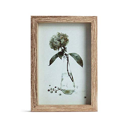 Rose flower Photo Frames Rustic Distressed Photo Frame Wall Hanging and Tabletop 1 Pack Wood Color Suitable for Wedding Table Decoration Home 14.5 X 19.5cm