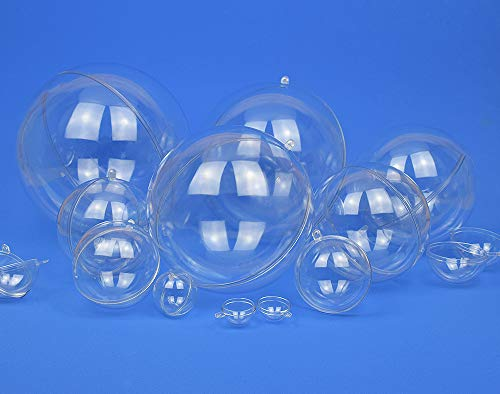 Single 120mm Fillable Two-Part Clear Plastic Christmas Bauble Ornament