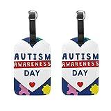Etiqueta para Equipaje de día de concienciación sobre Autismo, Juego de 2 Etiquetas para Maleta de Crucero, para Mujeres, Hombres, niños, Juego de 2 Etiquetas de Viaje con Hebilla de Cuero