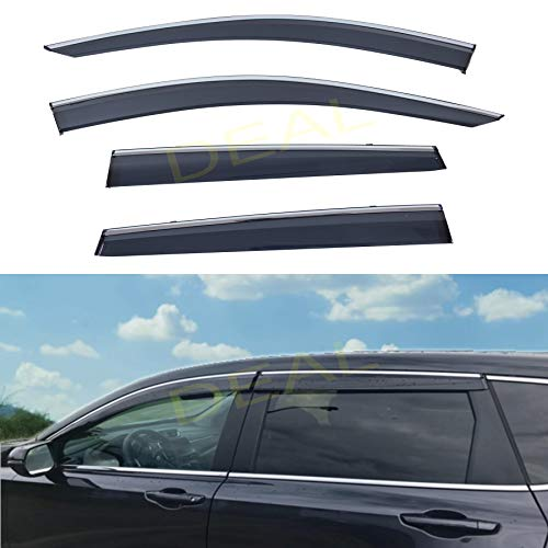 DEAL AUTO ELECTRIC PARTS 4-Piece Set Outside Mount Tape On/Clip On Type Smoke Tinted Sun/Rain Guard Vent Window Visors With Chrome Trim Compatible With 2017-2020 CR-V All Models