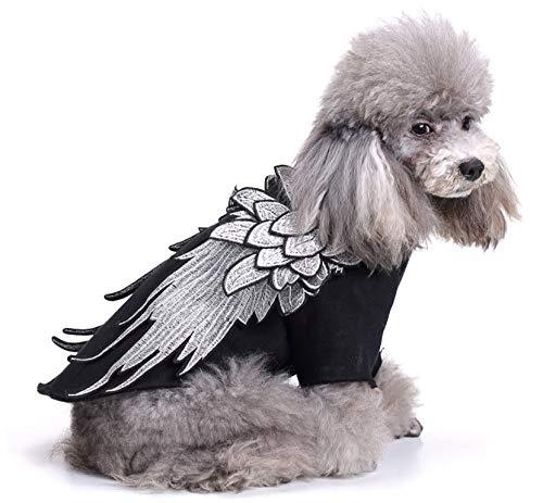 YAzNdom Mascotas Ropa para Perros y Gatos, ángeles Frescos y alas de Demonios Suéter para Mascotas, Ropa cómoda y Transpirable de Primavera y otoño (Color : Negro, Size : S)