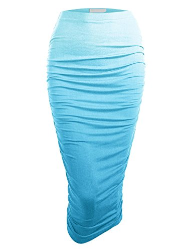 Made By Johnny WB1148 Womens Ombre High Waist Pencil Skirt with Side Shirring XXXL Aqua
