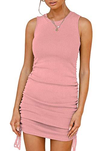 JIraewh Damen Sommerkleid Sexy MiniKleid Round Neck Ärmellos Tank Kleid Casual Strandkleid Unregelmäßige Saum Party Miederkleid(Rosa-3043,M)