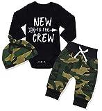 Sfuzwg Neugeborene Baby Boy Kleidung Neu in der Crew 3pcs Outfits Strampler Hut Herbst Winter Camouflage Pants Sets (Schwarz-2, 0-3 Monate)