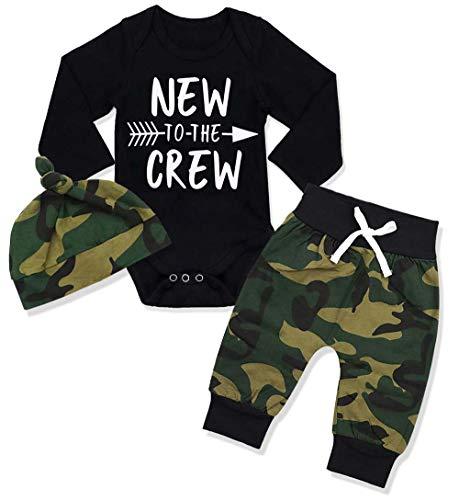 Sfuzwg Neugeborene Baby Boy Kleidung Neu in der Crew 3pcs Outfits Strampler Hut Herbst Winter Camouflage Pants Sets (Schwarz-2, 3-6 Monate)