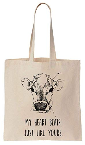 Finest Prints My Heart Beats Just Like Yours Cute Sad Hand Drawn Cow Cotton Canvas Tote Bag
