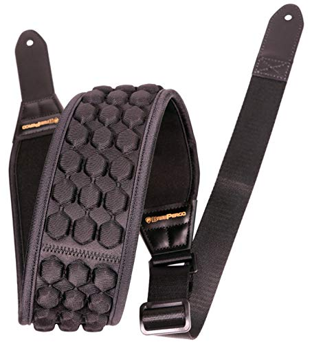 BASS PERGO AirCell Guitar Strap for Electric Guitar, Bass & Acoustic with 3.5' Wide Neoprene Pad w/ 4 Straps Locks, Adjustable Length from 47' to 55', Black – Soft & Durable