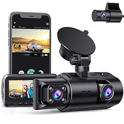 EYETOO 3 Lens Dash Cam 4K Anteriore e Posteriore, Doppia Telecamera per Auto con GPS e WiFi, Visione Notturna a Infrarossi, Monitor di Parcheggio, Registrazione in Loop, G-Sensor, Max 256GB