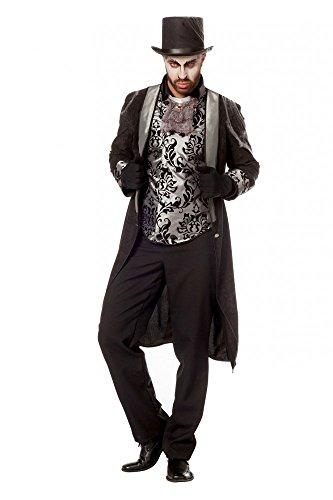 shoperama Frack mit Weste im viktorianischen Stil Schwarz/Silber Mantel Edelmann Halloween Vampir, Größe:58