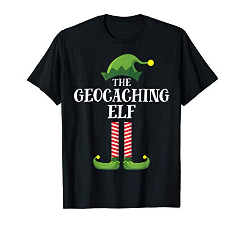 Geocaching Elf Matching Family Group Christmas Party Pajama Camiseta