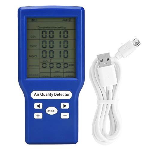 Detector de Gas, Pantalla LCD Multifuncional Gas Combustible Detector de Dióxido de Carbono Analizador Alarma Monitor de Alta Sensibilidad