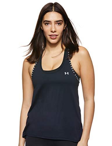 Under Armour UA Knockout Tank, Camiseta de Tirantes, Camiseta Deportiva para Mujer Mujer, Black/Black/White, M