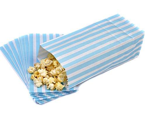 100 Light Blue & White Pick n Mix Candy Stripe Paper Sweet / Party / Popcorn Bags 4 x 9.5 x 3 by Bag It Plastics