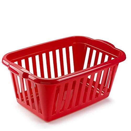 Plastic Forte - Cesta para la ropa rectangular, Pongo todo de plástico ,Cesta colada multicolor, Disponible 6 colores Para elegir que te más preferida (Rojo)