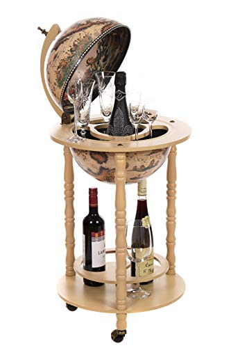 Carrello bar gigante 33001 W, con colonne in legno massello di eucalipto, bianco antico alto 100 cm con ruote, antico, bar di casa, tavolo da bar globo