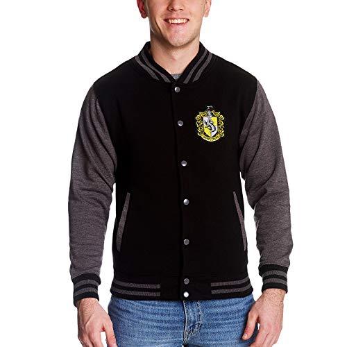 Harry Potter College Jacke Hufflepuff Wappen Front- und Rückenpatch schwarz grau - M