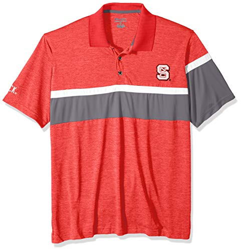 NCAA NC State Wolfpack Mens NCAA Men's Short Sleeve Striped Polo Collared Teechampion NCAA Men's Short Sleeve Striped Polo Collared Tee, Athletic Red, Medium