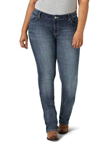 Wrangler Women's Size Plus Western Rise Stretch Straight Jean, Mid Wash, 18W x 30L