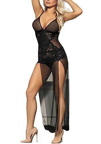 marysgift Damen Sexy Schwarzer Sheer Neckholder Nachthemd Langes Kleid